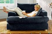 Two oversized charcoal grey sofa-chairs - Megan style